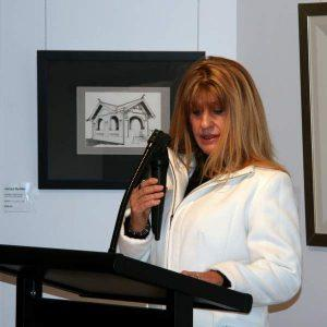 Opening speaker Trudy Forrest, who spoken engagingly, and inspirationally about the Art whisperers amongst us. Behind her is an ink drawing by Jacqui Bydder