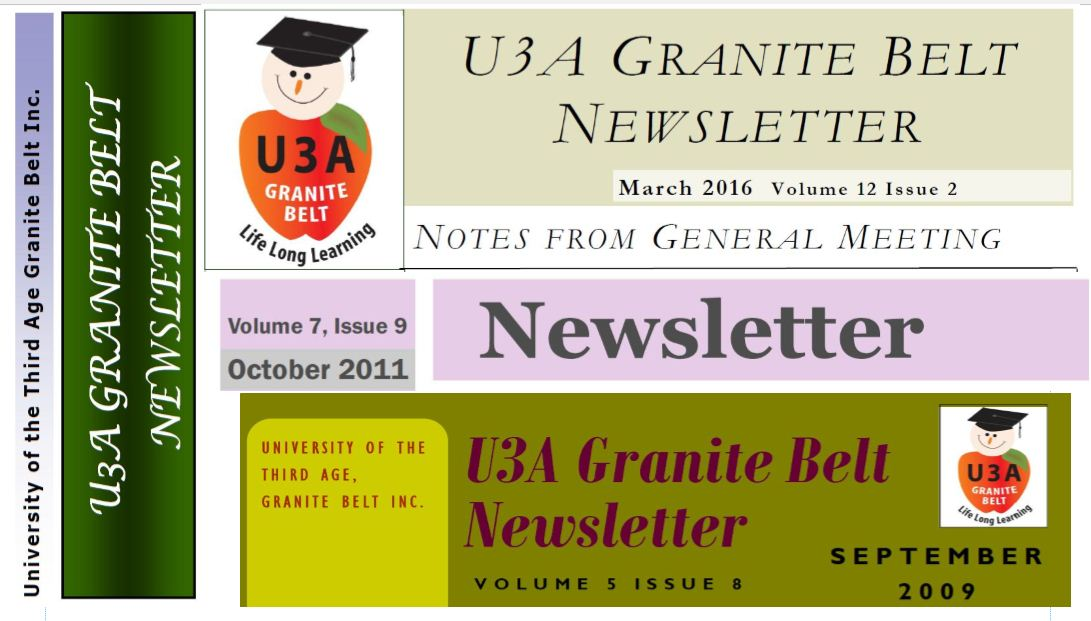 collage of newsletter headings